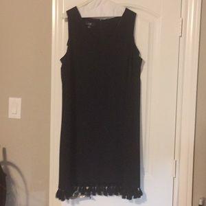 Little Black Dress with Fringe and Pockets